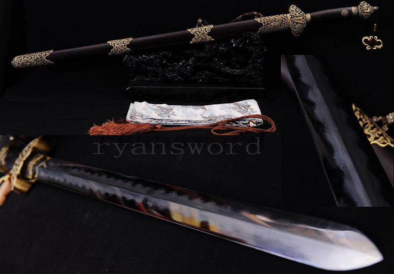 High Quality Handmade Clay Tempered Abrasive Folded Steel Blade Razor Sharp Chinese Sword