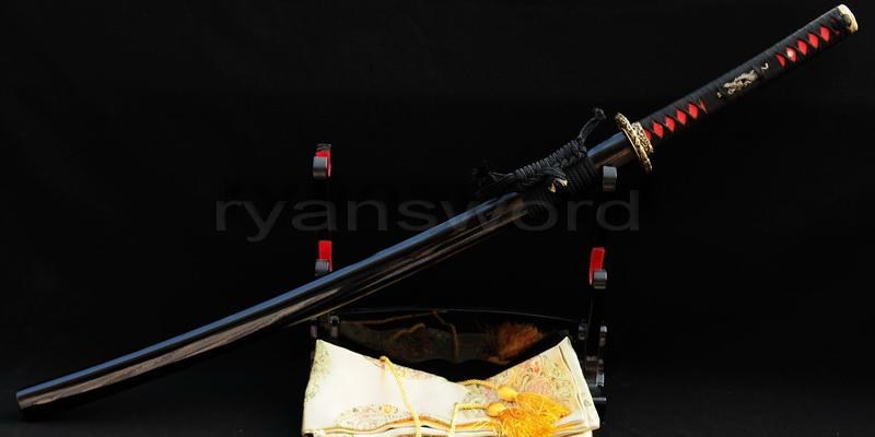 Handmade Red Folded Steel Blade Japanese Samurai Katana Sword