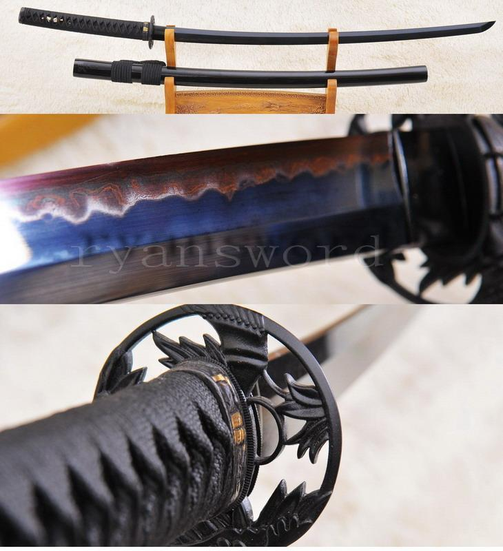 High Quality Black Folded Steel Sanmai Clay Tempered Japanese Katana Sword
