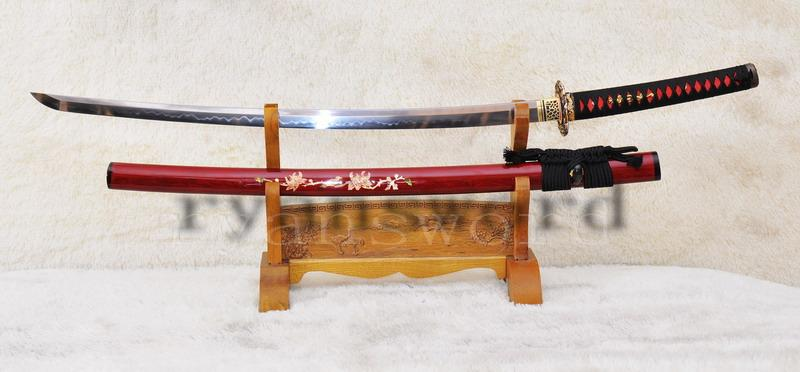 Clay Tempered Full Tang Carved Saya Japanese Samurai Sword Katana