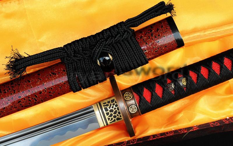 High Quality 1095 Carbon Steel Horn+Hard Wood Saya Japanese Samurai Katana Sword