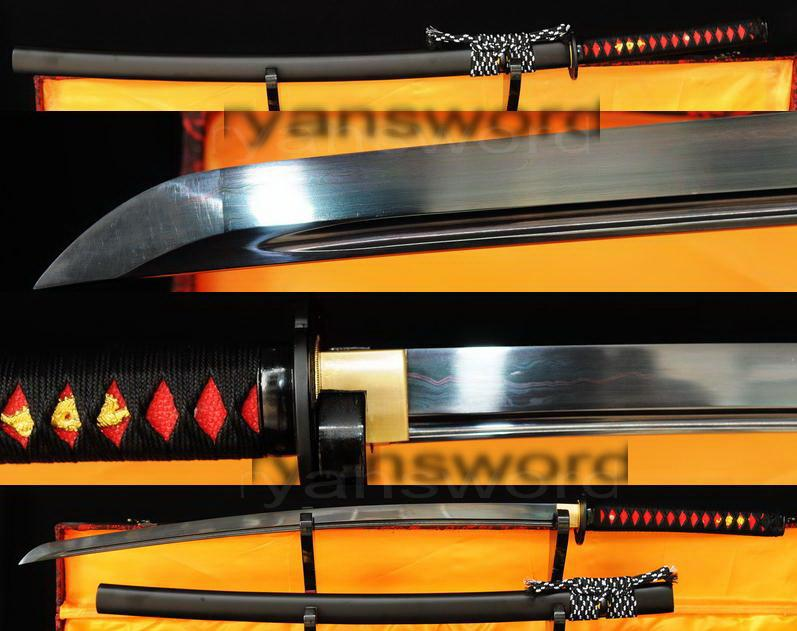 Damascus Black Folded Steel Japanese Samurai Katana Sword