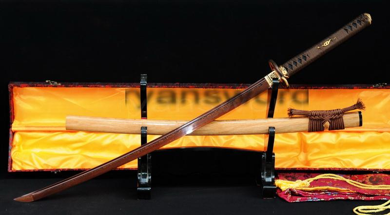 Damascus Red Folded Steel Japanese Samurai Katana Sword
