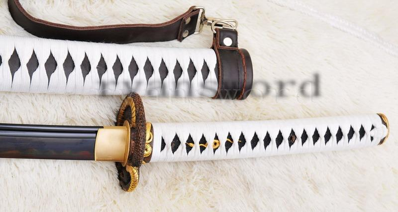High Quality Blackred Folded Steel Clay Tempered Leather Saya Japanese Samurai Sword Katana