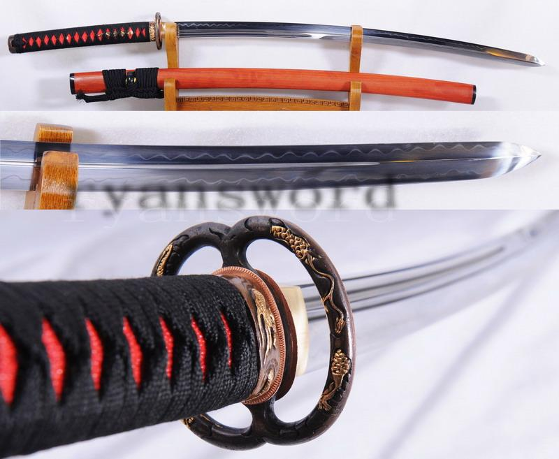 1095 Carbon Steel Unokubi-Zukuri Double Edges Rosewood Saya Samurai Sword