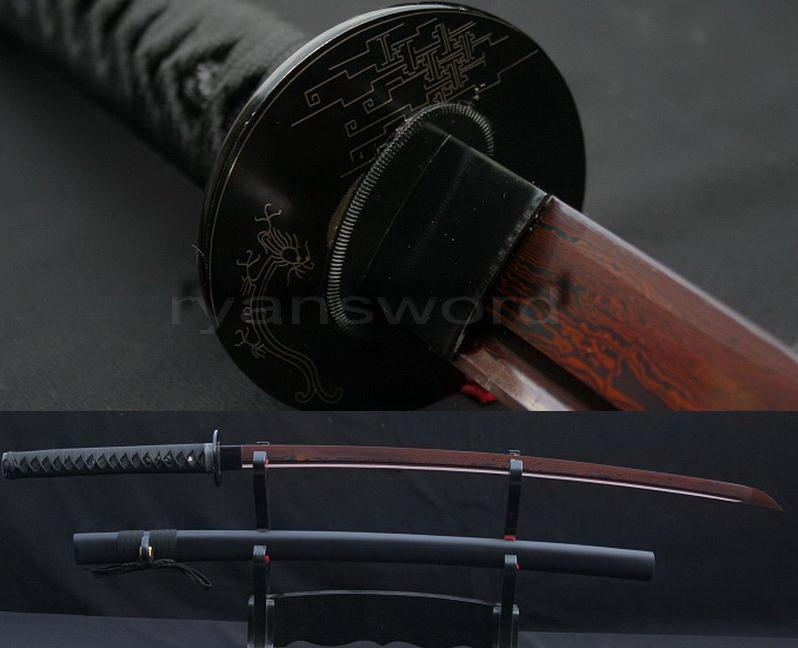 Red Folded Steel Damascus Japanese Samurai Katana Sword