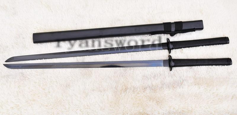 High Quality Black Folded Steel Japanese Gemini Twin Ninja Sword Set