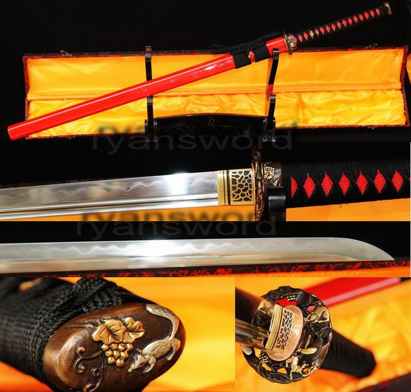 High Quality 1095 Carbon Steel+Folded Steel Clay Tempered Japanese Ninja Sword