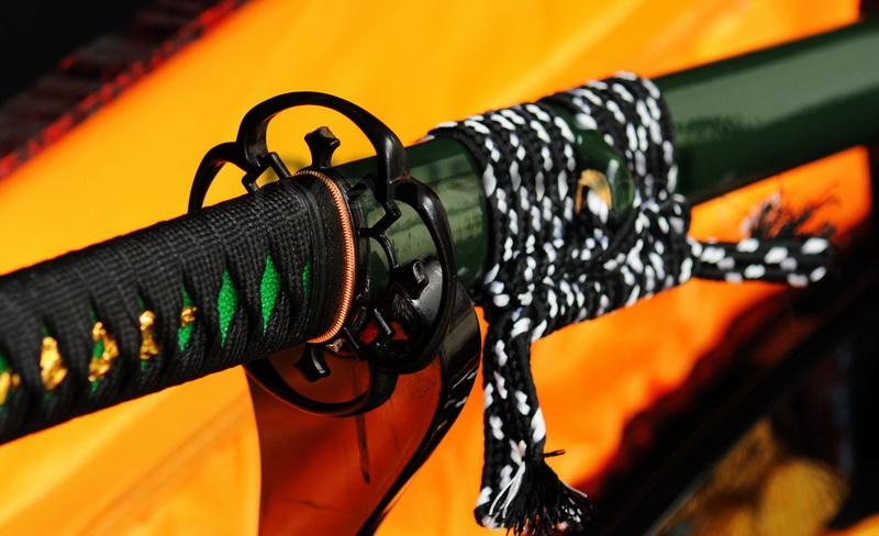 Hand Forged Folded Steel Green Saya Japanese Samurai Ninja Sword