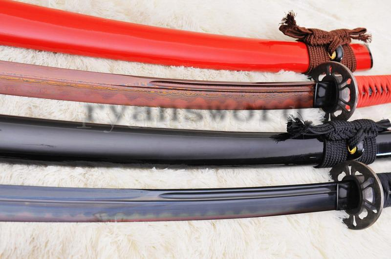 High Quality Blackred Folded Stee Honsanmai Clay Tempered Japanese Samurai Sword Katana Set