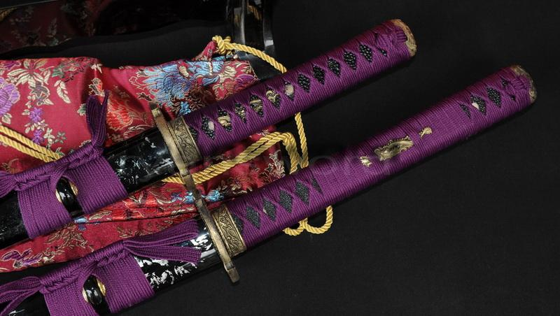 Hand Forged Damascus Folded Steel Japanese Samurai Set Sword