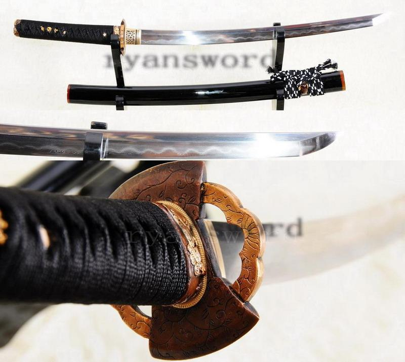 Hand Forged Folded Steel Honsanmai Clay Tempered Japanese Samurai Wakizashi Sword