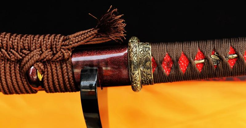 Hand Forged Red Damscus Folded Steel Japanese Samurai Wakizashi Sword